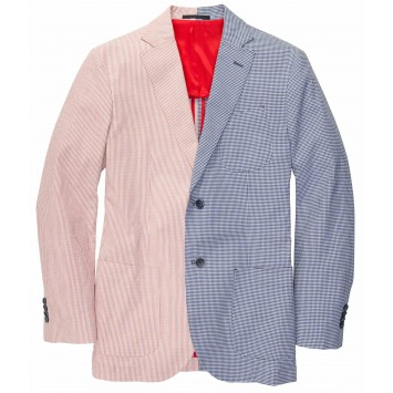 Cotton Red Stripe/Blue Gingham